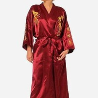 Burgundy Silk Embroidery Dragon Kimono Bathrobe