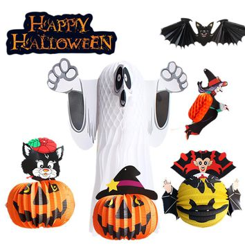 Halloween Paper Lantern Pumpkin Bat Spider Shape Pendant Folding Ornaments Bar Dance Decoration Hanging Lantern Party Supplies