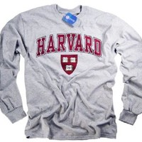 Harvard Shirt T-Shirt Long Sleeve College University Crimson Crew NCAA Officially Licensed Collegiate Product Gray Medium