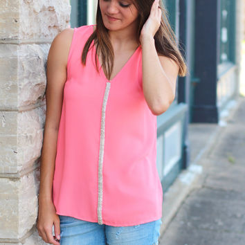 Seeing Neon Embellished Tank {Neon Coral}