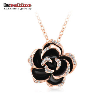 Black Enamel Rose Flower Pendant Necklace 18K Rose Gold/Platinum Plate Austrian Crystal Necklaces collar flores NL0003