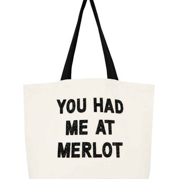 Designer Canvas Beach Tote- You Had Me At Merlot