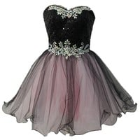 Staychicfashion Black Pink Sequined Top Strapless Short A Line Prom Dress 2015
