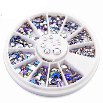 2016 NEW 550pcs 1.5mm/2mm/2.5mm/3mm/4mm/5mm AB Round Nail Art Decorations Rhinestone  for nail accessories for nail decoration