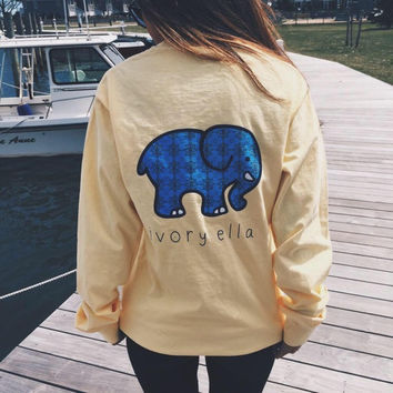 Elephant Print Long Sleeve T-Shirt in Yellow and Watermelon Red