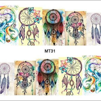 ONETOW 1 Sheet Nail MT31 Full Cover Color Dream Catcher POP Nail Art Water Transfer Sticker Decal For Nail Art Tattoo DIY Nail Tool