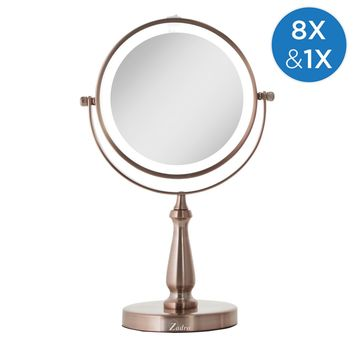 Zadro LED Lighted Dual Sided Vanity Mirror 1X/8X, Rose Gold