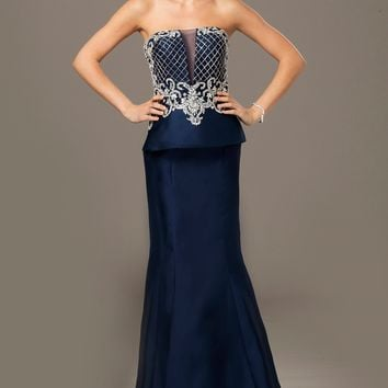Navy Peplum Dress 24571 - Evening Dresses