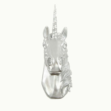 The Bayer in Silver - Magical Silver Unicorn Head - White Faux Taxidermy - Unicorn Wall Mount Art - Unicorn Decorations - Kids Room Decor