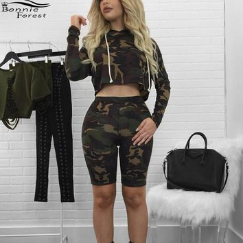 ARMY FATIGUE BERMUDA SHORTS AND CROP TOP Two Pieces Set