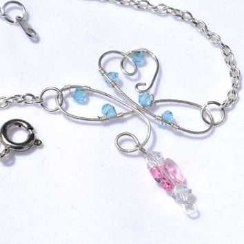 infinity sterling silver anklet, dainty ankle bracelet, summer jewelry, beach anklet, pink bead anklet, blue bead anklet, butterfly anklet,