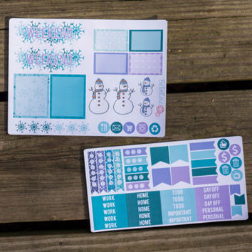Winter Planner Sticker Sampler, Erin Condren Planner Stickers, Happy Planner Stickers