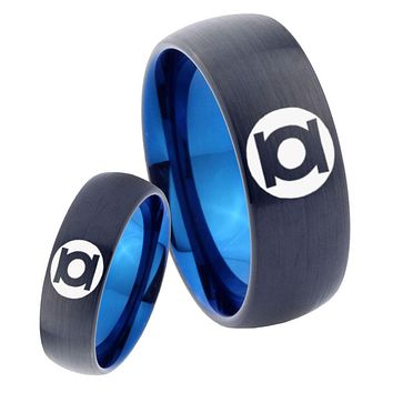 His Hers Green Lanterns Dome Tungsten Blue Men's Wedding Ring Set