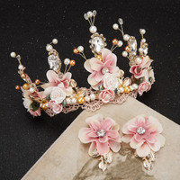 Handmade beaded lace Baroque crown golden dress hair headdress flower ceramic
