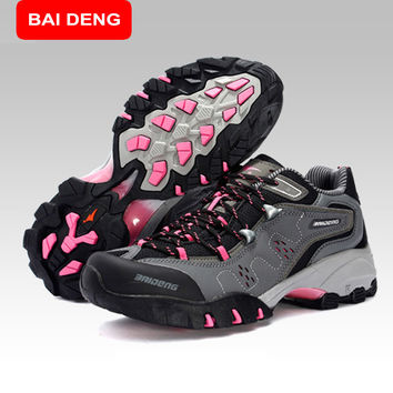 BAIDENG Surface Waterproof Climbing Mountain Boots  Women Hiking Shoes Breathable Shoes Brand 3Colors 8061