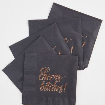 Cheers Bitches! Rose Gold Party Napkins