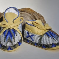 Shoes, Moccasins, Blue, Grey, Black Beads, Native American Made, Fully Beaded Baby Moccasins, Deer Hide Leather, Baby Gift, Family Heirloom