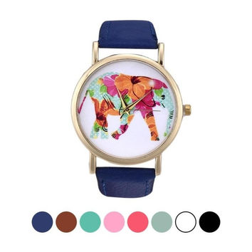 1PC Elephant Pattern High Quality Leather Band Fancy Analog Quartz Vogue Wrist Watch = 1956728644