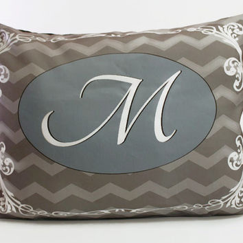 Modern Victorian Monogram Pillow-- Grey and Silver Chevron Lumbar Pillow with Your Choice of Font...Ships WITH Insert