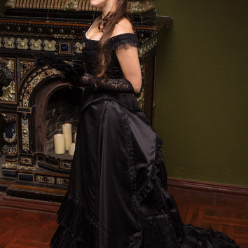 Black Victorian Bustle Dress, 1880s Ball Outfit, Black Steampunk Wedding Costume, Vampire Gothic Dress