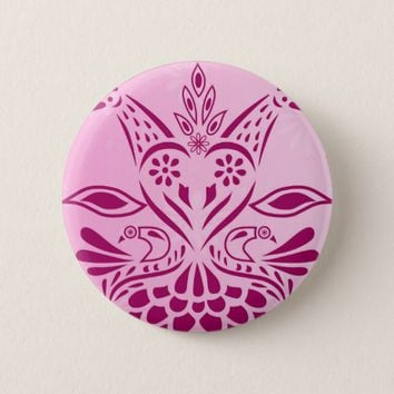 Pink Sweet Love Birds Heart Round Button