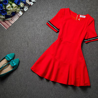 A-Line Fishtail Flounced Mini Dress