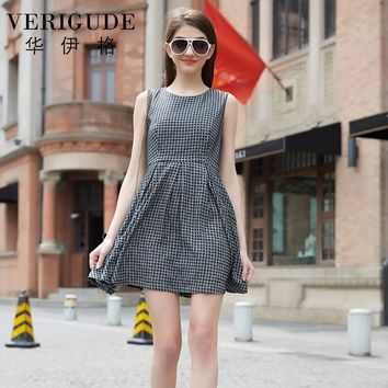 Veri Gude Summer Dress Women Plaid Dress Ladies Fashion Pleated Dress