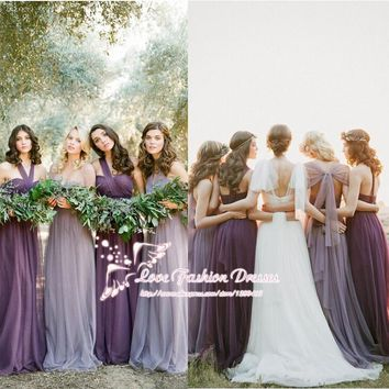 Light Purple Convertible Bridesmaid Dresses Six Styles in One Vestido de Madrinha Longo Cheap Bridesmaid Dresses