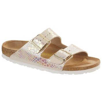 Birkenstock Arizona Birko Flor Shiny Snake Cream 0057621/0057623 Sandals