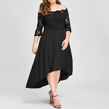 Dress Plus Size Women Casual Three Quarter Off Shoulder Boho Lace Long Dress  Slim Soft Touch Dresses Summer 2019 New Arrival