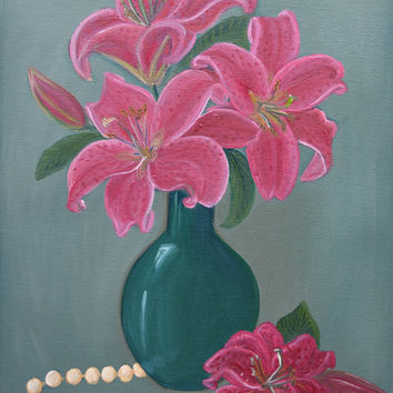 Original Oil Painting, Oil, Still Life Painting, Floral Painting, Mother's Day, Wall Art, Lily Painting,Oil on Canvas, 9x12 Stretched Canvas