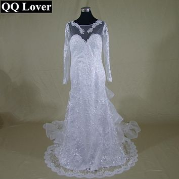QQ Lover Vestido De Noiva Sexy Mermaid Wedding Dress Romantic Appliques Lace Bride Dress Button Back Long Sleeve Robe De Mariage