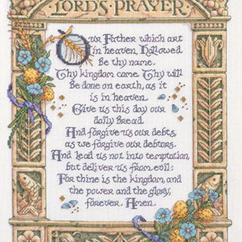 "Lord's Prayer Counted Cross Stitch Kit-11.25""X14.5"" 14 Count"