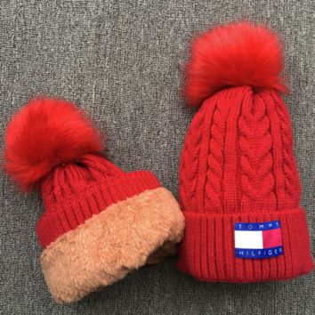 Tommy hilfiger Women Men Embroidery Beanies Knit Hat Warm Woolen Hat Red