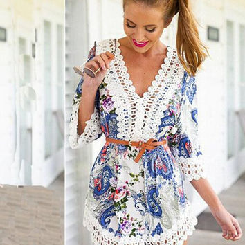 Sexy Women Lace Floral Ethnic Dress Gift A18