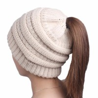 Women Messy High Bun Ponytail Stretchy Knit Beanie Skull Winter Warm Hat