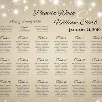 DIY Printable Wedding Seating Chart | PDF file | 18 x 24 Wedding Seating Chart - New Years Heaven Sparkles Champagne Gold - EMAIL Delivery