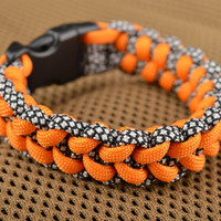 Handmade wrist paracord bracelet stylish orange bracelet camping accessory