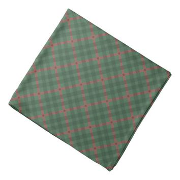 Scottish tartan buffalo plaid pattern green & red bandana