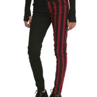 Red & Black Stripes Split Leg Skinny Jeans
