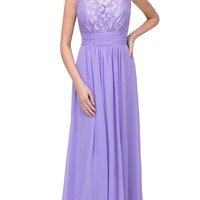 Lilac Floor Length Formal Dress Lace Up Back Sleeveless