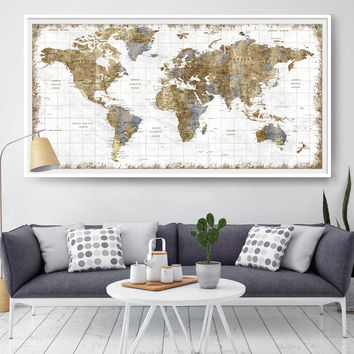 Large Wall Art, Push Pin World Map, World Map Wall Art Print, Push Pin Map, Abstract Wall Art, World Map Poster, Wall Art, Push Pin (L108)
