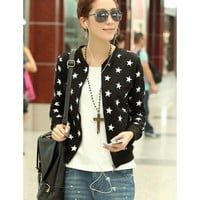 Black Long Sleeve Women Spring Autumn New Style Korean Style Fashion Casual Slim Zipper Cotton Coat M/L/XL @WH0395b $18.66 only in eFexcity.com.