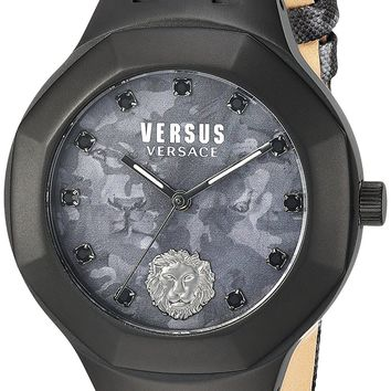 Versus by Versace Men's 'LAGUNA CITY' Quartz Stainless Steel and Leather Casual Watch, Color:Black (Model: VSP350317)