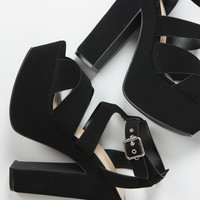 Cross Band Chunky Platform Heels