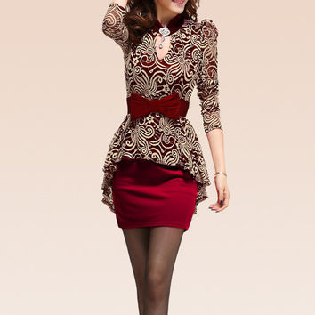 Red Lace Panel Peplum Dress