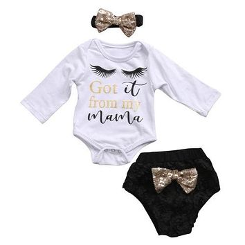 Baby Clothing  3Pcs Set Newborn Baby Girls Clothes Long Sleeve eyelash Romper +Sequin Bottoms Pants Outfits