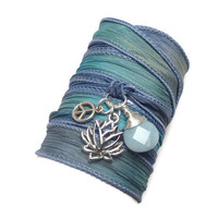 Silk Wrap Bracelet with Lotus Flower Peace by charmeddesign1012