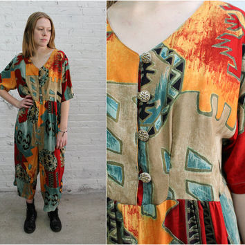 90s rayon jumpsuit / abstract tribal print / funky art school teacher short sleeve romper