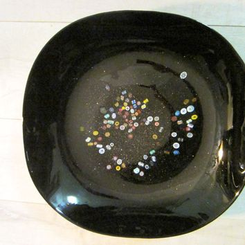 Venetian Glass Applied Colored Flowers Signed Millefiori Black Bowl Gold Inclusion